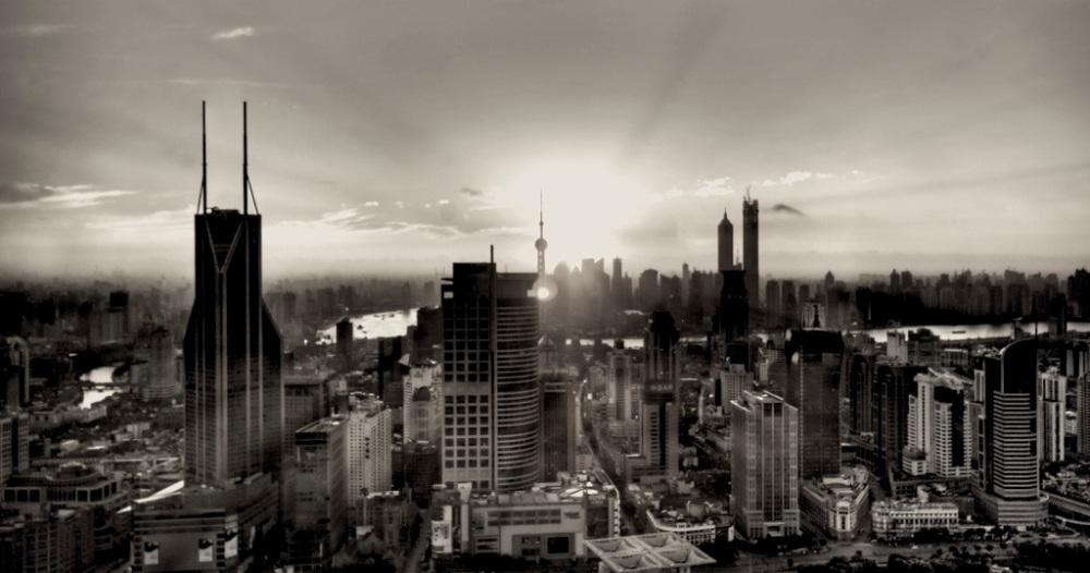 Dawn in city